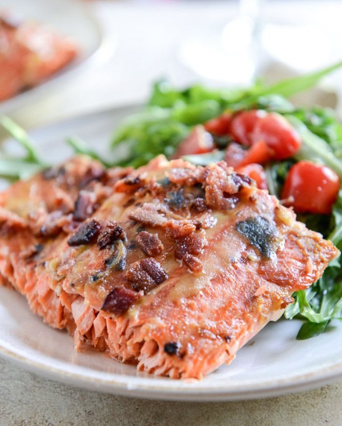 Easy Grilled Maple Dijon Salmon with Bacon from How Sweet It Is ...