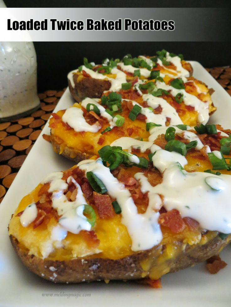Loaded Twice baked potatoes: The baked potatoes are mashed with butter ...
