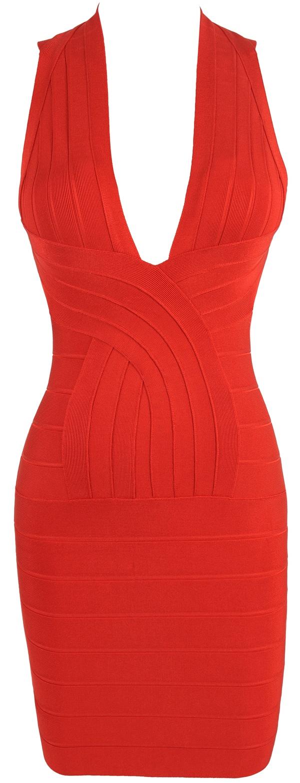 'Vanessa' Red Deep V Backless Bandage Dress.