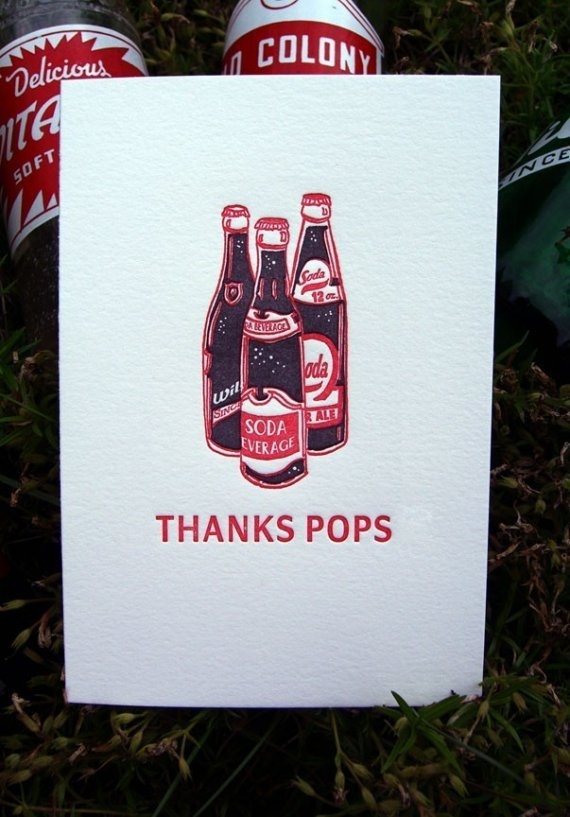 Letterpress Father's Day Card - Thanks Pops via papillonpress