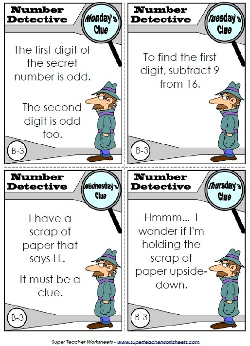 Read the clues and help Inspector Numerico, the Number Detective ...