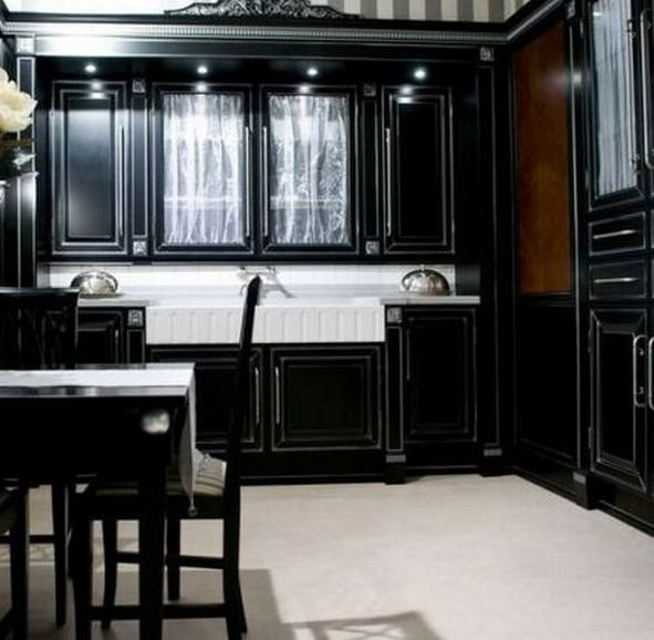 Painting kitchen cabinets black kitchens pinterest for Black painted kitchen cabinets