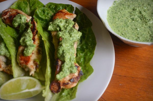 Chicken Tacos with Cilantro and Green Garlic Sauce~ Tip: replace sour ...