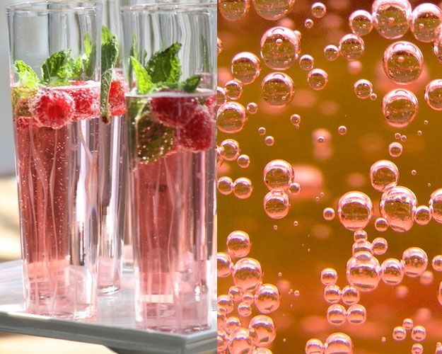 Raspberry and mint champagne cocktail | bevy | Pinterest