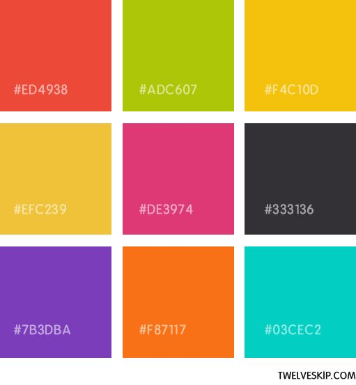 Flat design color swatches
