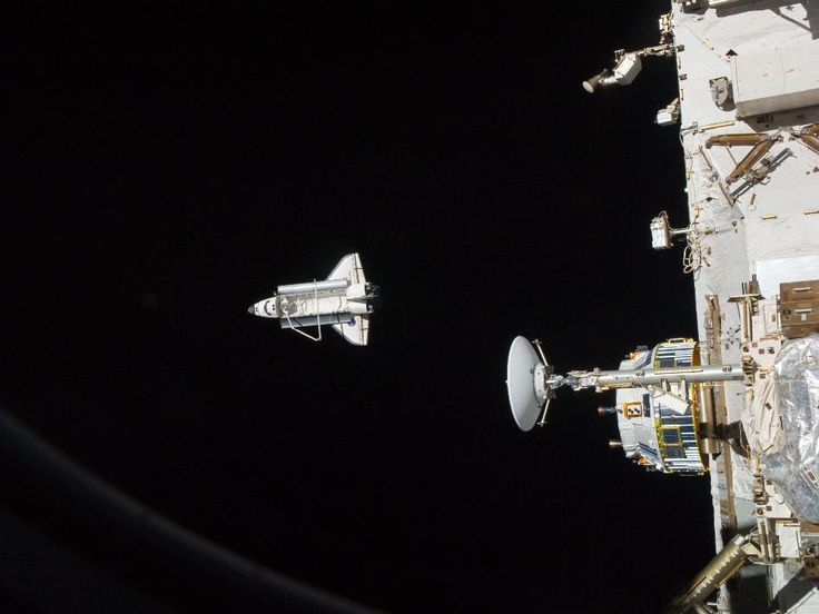 The space shuttle Discovery is seen from the International Space Station during it's last flight as the two orbital spacecraft accomplish their relative separation on March 7. During a post undocking fly-around, the crew of each vessel photographed the opposing craft.
