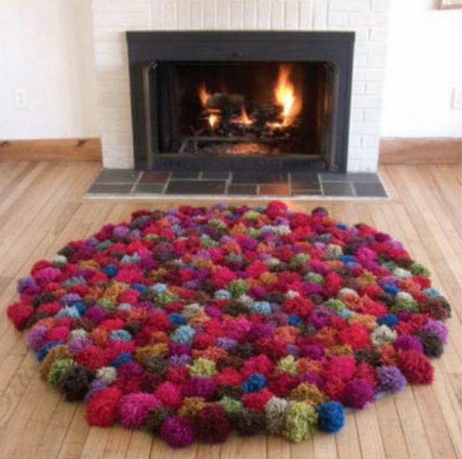 diy pom pom rug diy projects pinterest. Black Bedroom Furniture Sets. Home Design Ideas