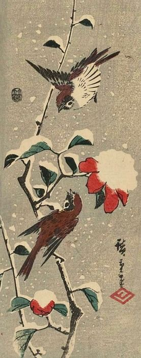 Utagawa Hiroshige, Camellia and Sparrows in Snow, 1843-47