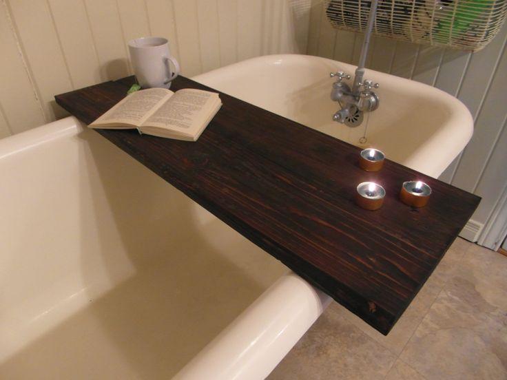Custom made reclaimed wood bathtub caddy tray (tub table ...