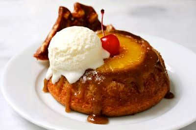 fresh pineapple upside-down cakes with coconut ice cream and macadamia ...