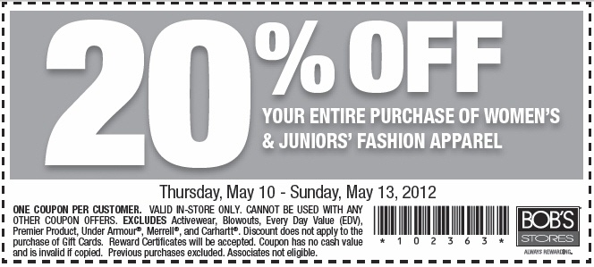 picture regarding Under Armour Printable Coupons identify Bobs apparel keep discount coupons printable : Coupon inform