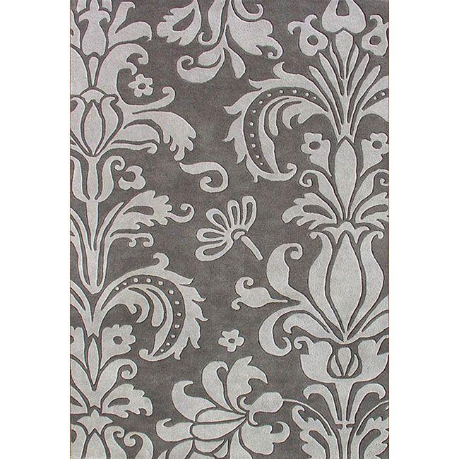 Floral Damask Area Rug: Hand-tufted Grey Floral Wool Rug
