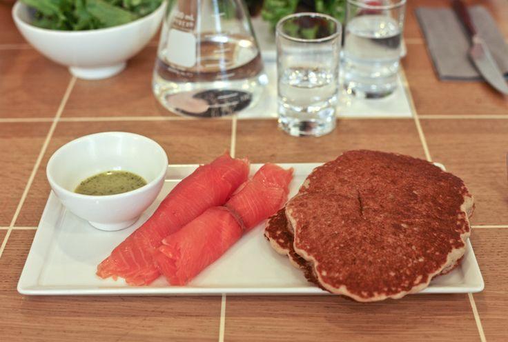 Buckwheat Pancakes with Smoked Salmon and Mustard Dill Sauce