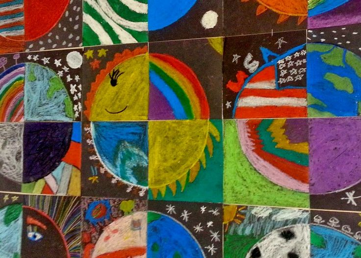 1/4 Circle Art... 3rd grade students used oil pastels to design ¼ of a circle section to create a collaborative art mural.