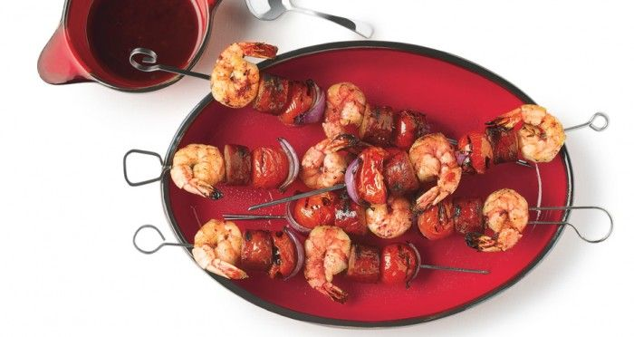 Grilled Shrimp and Sausage Skewers with Smoky Paprika Glaze - Bon ...