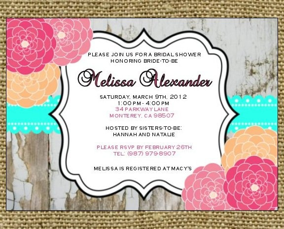 Bridal/Baby Shower Invitation - Rustic Painted Wood Turquoise Border ...