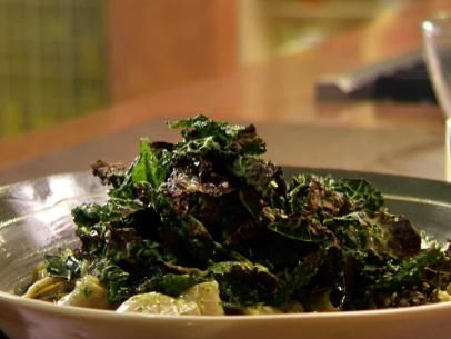 Dressed Penne with Crispy Kale with Garlic and Broiled Tomato Crostini ...