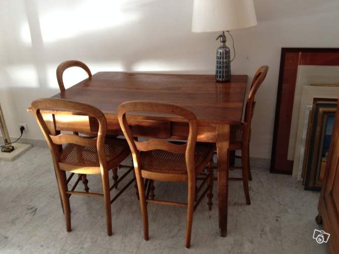 Table noyer + 4 chaises Louis Philippe can?es Ameublement Alpes
