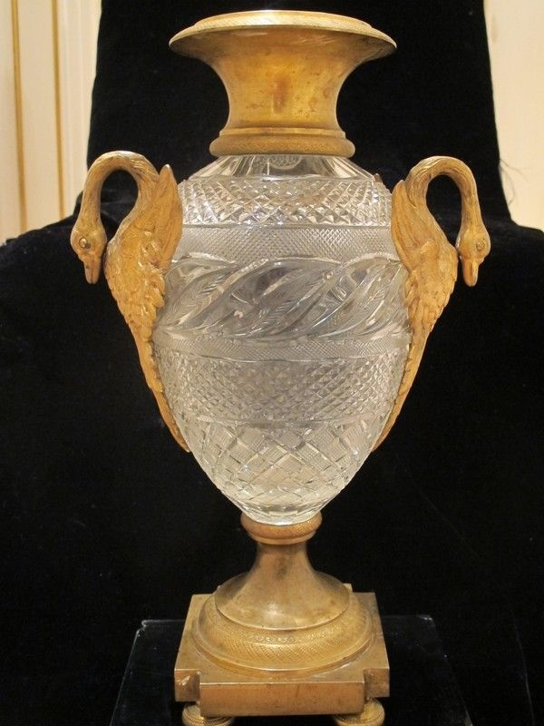 Великолепная французская Бронзовый позолотой и хрусталем стеклянной вазе, ампир, начало 19 века