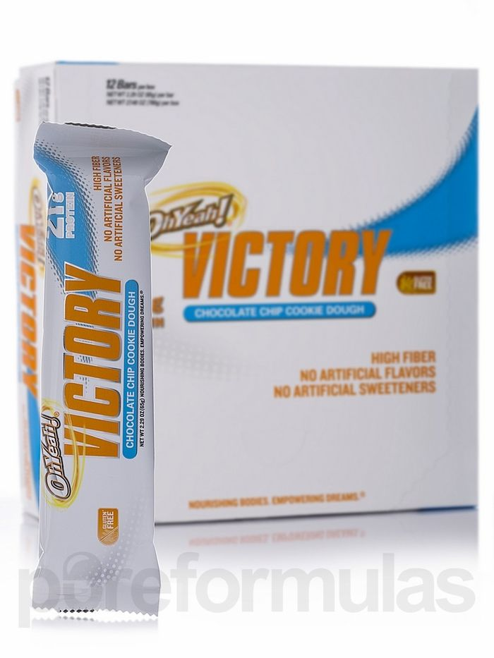 Oh Yeah! Victory Bar Chocolate Chip Cookie Dough 12 Count by ISS ...