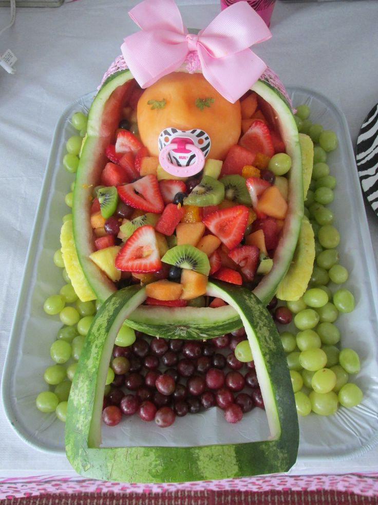 baby cradle fruit platter that a dear friend made for the baby shower
