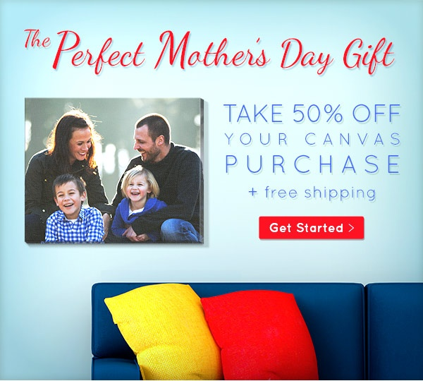 Get 50% off at Easy Canvas Prints, for Mother's Day.  If you order by Friday at 4PM, you will receive your canvas in time for Mother's Day! Canvas prices will start at $19.99. #gifts #mom #memories #photos