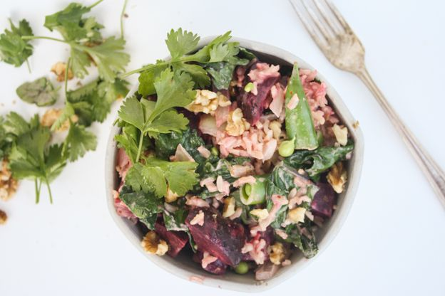beet, kale, and snap pea bowl with creamy maple-tahini dressing ...