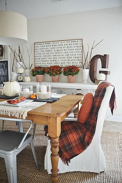 something about the tartan plaid at the breakfast table...very cozy/cabin/B&B.  i like it.