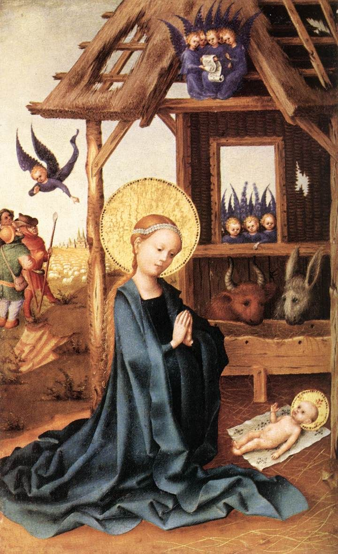 Stefan Lochner (1400\1410 -1451) — Adoration of th Child Jesus,1445  (720×1179)
