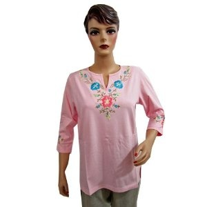 Baby Pink Cotton Tunic Top for Women's Full Sleeve Embroidered Fashion Top Xxl (Apparel)
