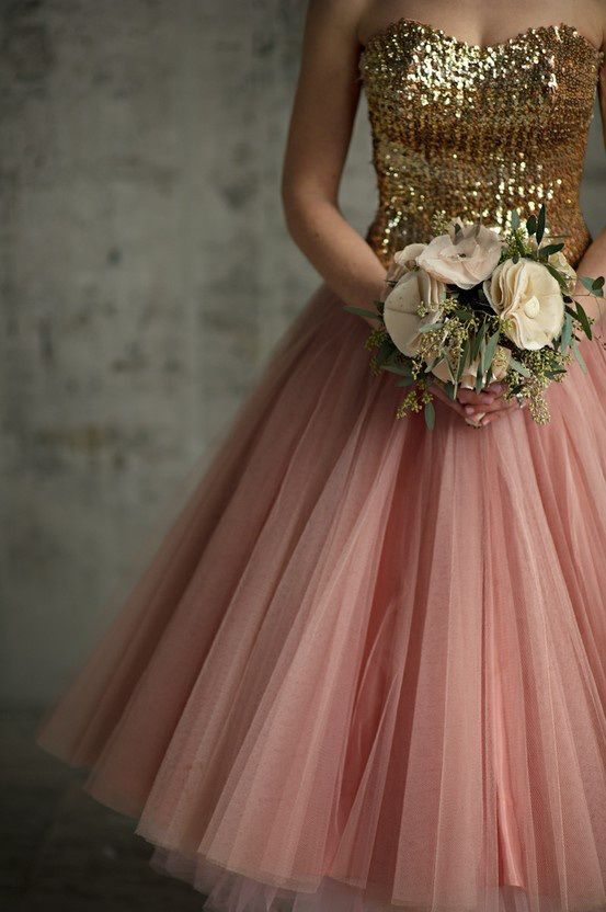 Blush and gold wedding dress say yes to the pinterest for Pink and gold wedding dress
