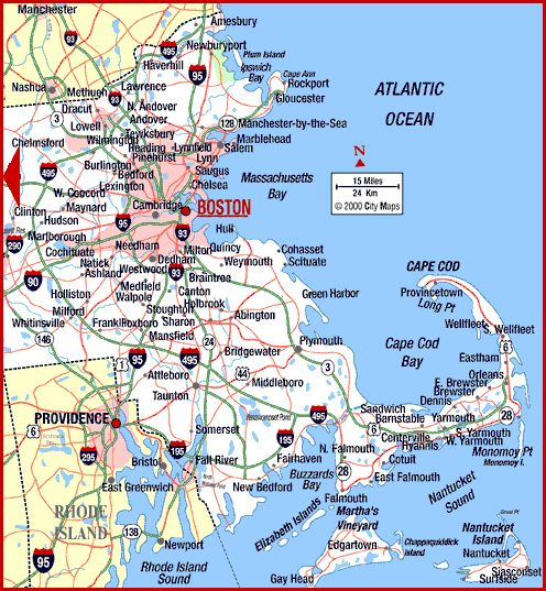 Map Of Eastern Massachusetts Cape Cod Locations To