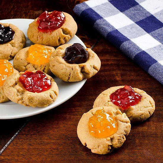 Peanut Butter & Jelly Thumbprint Cookies | Cookie Monster | Pinterest