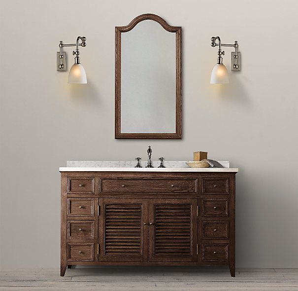 Shutter Extra-Wide Single Vanity Sink in Brown with Cararra Mable is ...