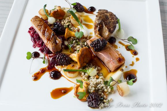 Seared Duck and Fois Gras with Pickled Blackberry Sauce