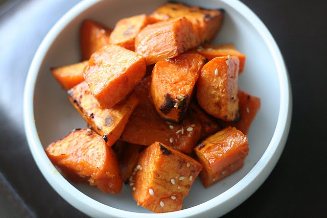 roasted sweet potatoes with soy honey glaze. Did this with regular ...