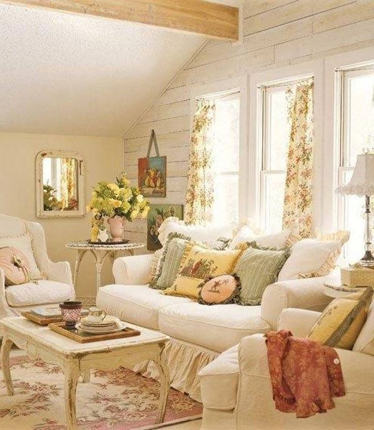 Everything cottage style pinterest for Shabby chic living room ideas