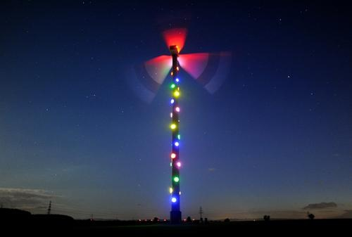 Lit up wind turbine