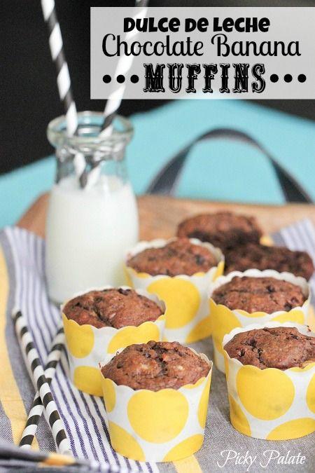 Dulce de Leche Chocolate Banana Muffins | Picky Palate