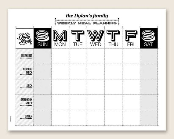 printable weekly meal planner editable printable pdf