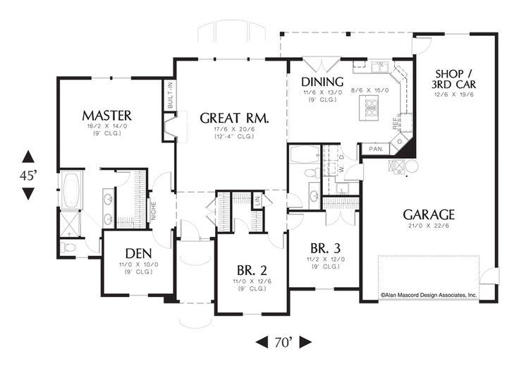 Mascord house plan 1144 for 4 car tandem garage house plans