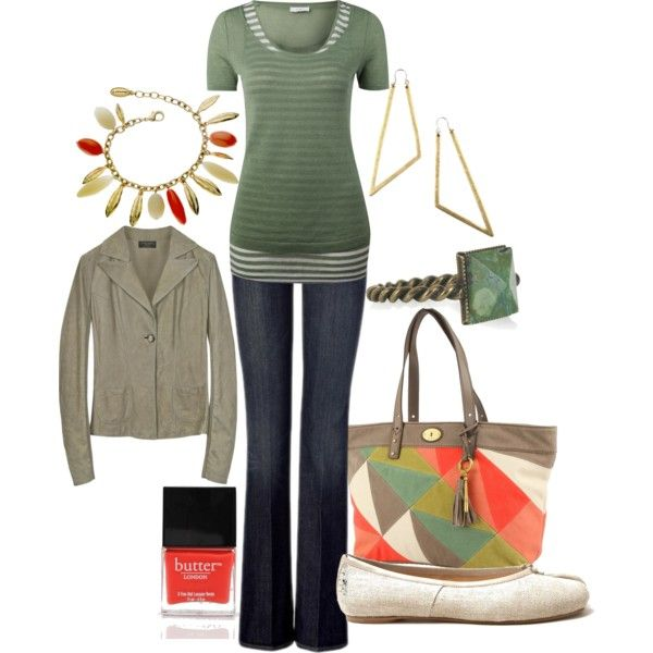 Green & Coral, created by lagu on Polyvore