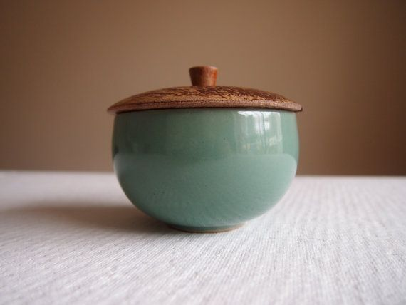 Green Denby Bowl And Wooden Lid Vintage Stoneware Ceramic
