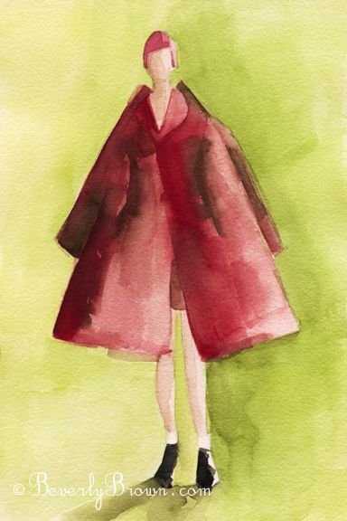 Watercolor Fashion Illustration - Red Coat