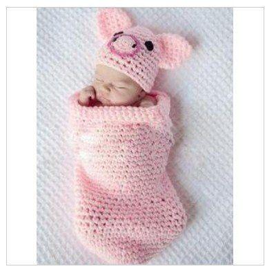 Pink Pig Sleeping bag Toddler Knitted Animal Hat Photography Props Ne ...