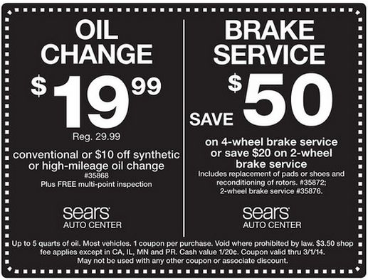 Brakes coupon sears