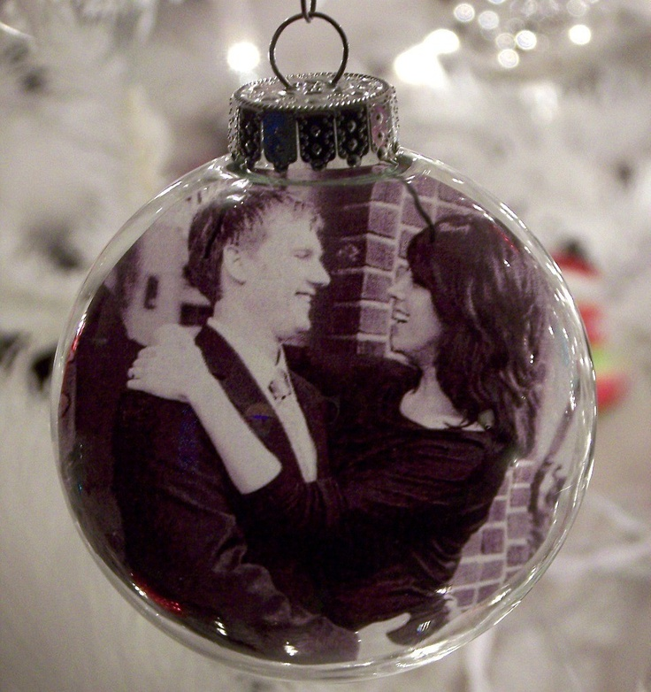 Glass ball photo ornament set of 4 personalized for Customized photo christmas ornaments