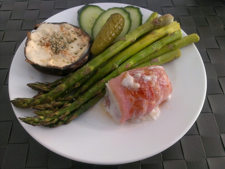 Cod wrapped with bacon, grilled asparagus and portabella topped with ...