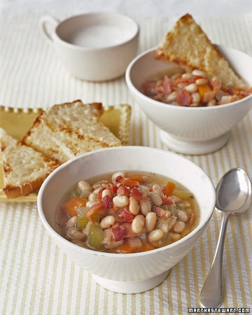 Bean and Bacon Soup with Cheese Toasts - Martha Stewart Recipes