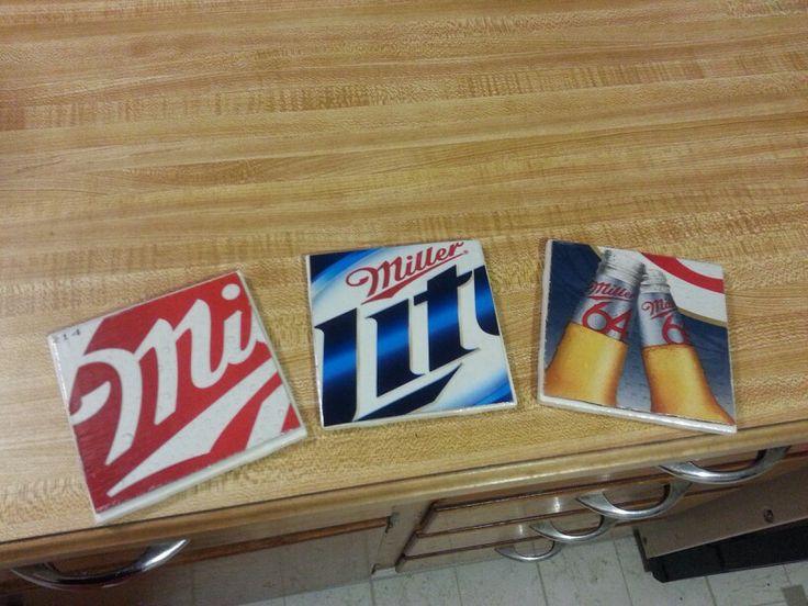 Tile cardboard mod podge beer coasters my crafts i 39 ve made from pinterest pinterest - Cardboard beer coasters ...